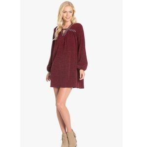 Embroidered Heather Knit Dress