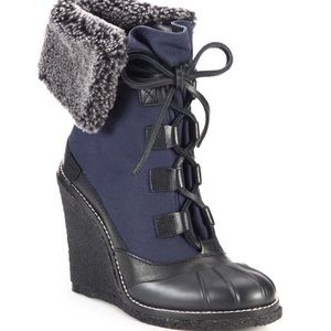Tory Burch Shoes - NWOT Tory Burch Fairfax Canvas Wedge Booties