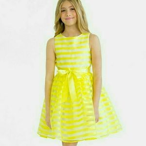 Us Angels Other - Blush by Us Angels Yellow Striped Organza Dress
