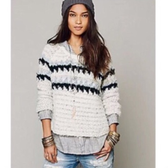 73% off Free People Sweaters - 🎉Free People Oversized Fuzzy Fair ...
