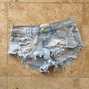 One Teaspoon Bonitas Denim Shorts Light 26 RARE