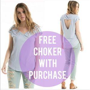 Boutique Tops - Lilac GreyStrappyDetailOpenBackTop