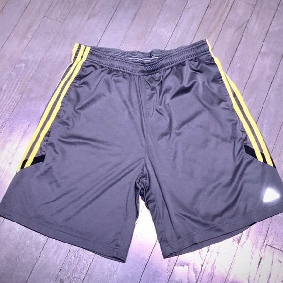 Adidas ClimaCool gray shorts yellow stripe