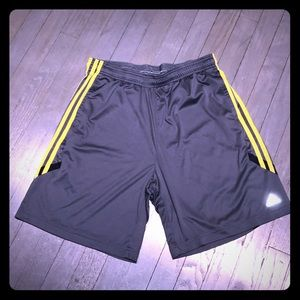 Adidas Other - Adidas ClimaCool gray nylon shorts yellow stripe