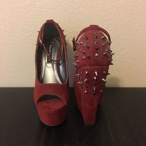 Shoe Republic LA Suede Peep Toe Spiked Wedge