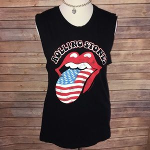 Bravado Tops - PacSun Rolling Stones Flag Lips/Tongue Tank