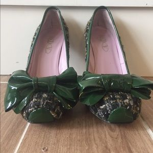 RED Valentino Shoes - Red Valentino Green Tweed Stilettos with large bow