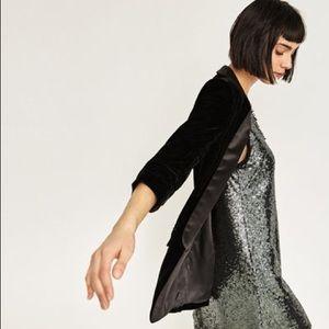 Zara Jackets & Blazers - Zara Velvet black blazer with roll up sleeves XS