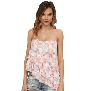 Free People Printed Flutter By top
