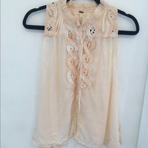 Free People Embroidered Button Down Tank