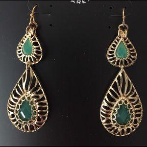 Roberta Chiarella Jewelry - Roberta Chiarella goldtone green teardrop earrings
