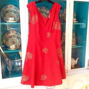 Sz. 14ish? Gorgeous Red Midi Dress by Eshakti.