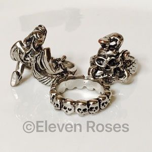 Fashion Jewelry Other - Lot of 3 Steel Fashion Skull Dragon Band Rings