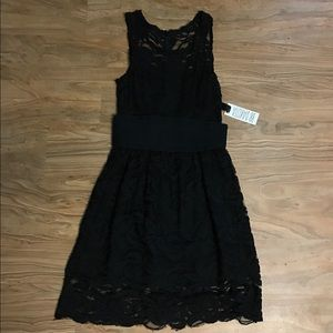 BB DAKOTA Black Lace Dress with belt NWT!!