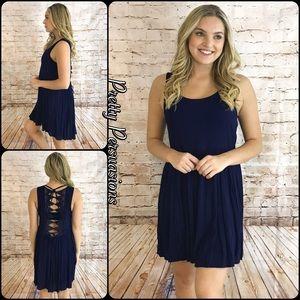 Pretty Persuasions Dresses & Skirts - LAST ONE‼️ NWT Navy Crochet Back Baby Doll Dress