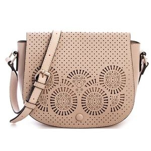 GlamVault Handbags - Stone Laser Cut Saddle Crossbody Handbag