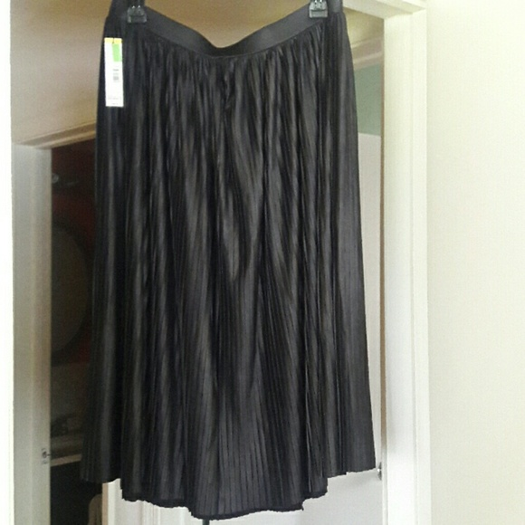 Metaphor Dresses & Skirts - Black Shiny Pleated Skirt
