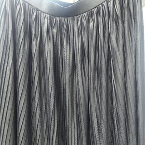 Metaphor Skirts - Black Shiny Pleated Skirt
