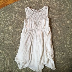 Free People White Embroidered Flowy Tank