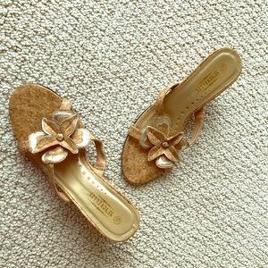 Seychelles Shoes - Seychelles Gold Flower Vegan Cork Wedge Sandals