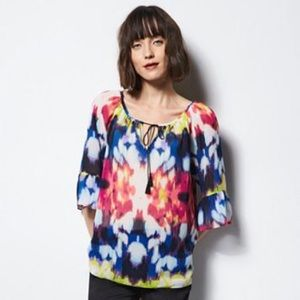 MILLY FOR DESIGNATION BELL SLEEVE BLOUSE TOP