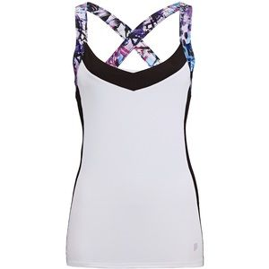 Prince Tops - {Prince} Fitted Print Tennis Tank- White/black