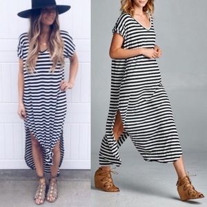 1 HR SALEThe BAILEY striped Chic dress - BLACK