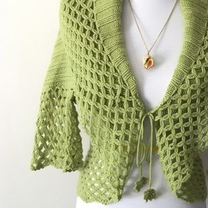 White + Warren Sweaters - Spring Green Cashmere Crochet Shrug