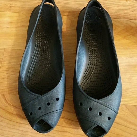 c6a5e830e84 CROCS Shoes - Crocs black flats 9 wide