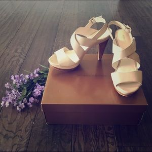 Audrey Brooke Shoes - Audrey Brooke Nude Platform Heels/Sandals