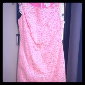 Jessica Simpson pink and white lace overlay dress