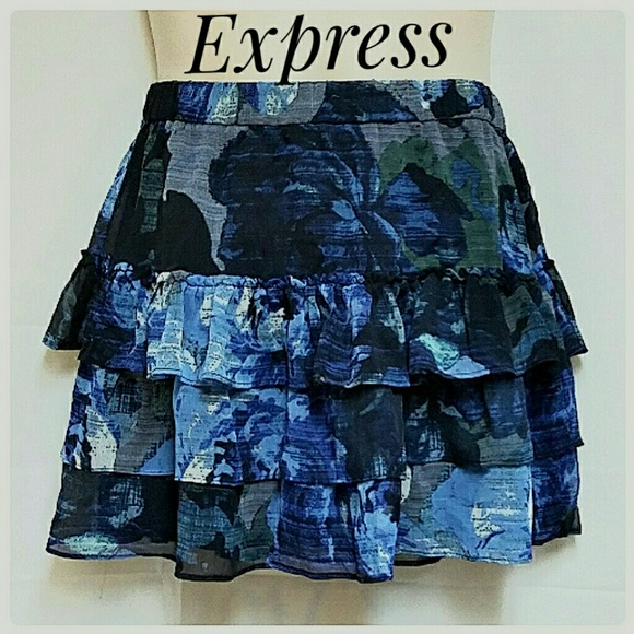 Express Dresses & Skirts - Express 3-Tier Mini-Skirt Blue Black Floral Size S
