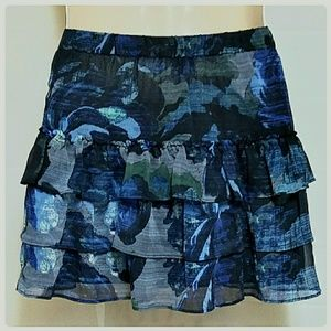 Express Skirts - Express 3-Tier Mini-Skirt Blue Black Floral Size S