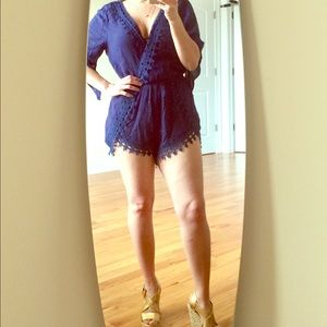 Ambiance Apparel Other - Navy blue romper with lace trim detail