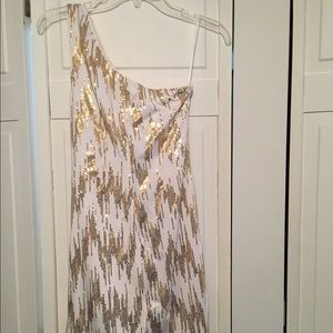 Gold and white one shoulder dress
