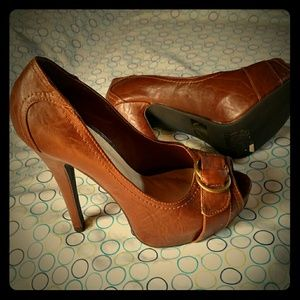 Venus Brown Peep Toe Pumps