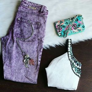 Denim - Purple Wash Skinny Jeans