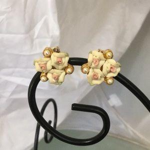 Vintage Flower & Pearl Cream, Pink & Gold Earrings
