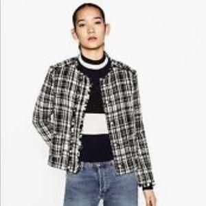 Zara Jackets & Blazers - Zara frayed tweed jacket