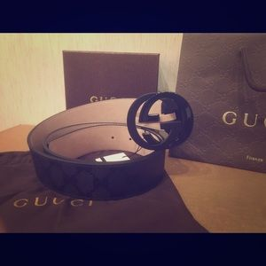 Gucci Other - NEW black Gucci Signature Impreme belt!!!!