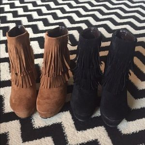 Black fringe booties size 8.5.