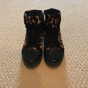Lanvin Shoes - Lanvin Leopard-Print Calf Hair Hi-Top Sneaker