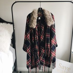 Jackets & Blazers - Plaid Poncho