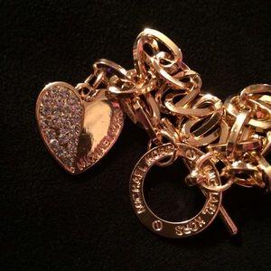 Michael Kors Jewelry - Gold & Crystal Heart Shaped MK Bracelet