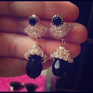 Gold Tone Black and Silver Earrings