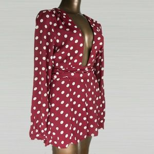 Privacy Please  Pants - Privacy Please Red with White Dots Romper