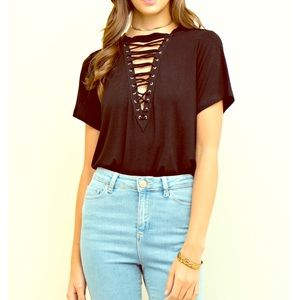 Entro Tops - FINAL PRICE solid Black lace up knit top