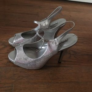 Jacqueline Ferrar Shoes - Peep Toe Sequin Heels