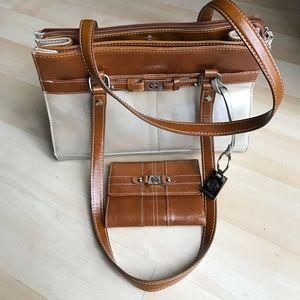 Silver/brown Giani Bernini leather purse + wallet