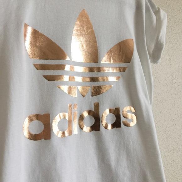 7c0661726da ... australia adidas tops adidas originals double logo trefoil rose gold tee  source adidas rose gold logo